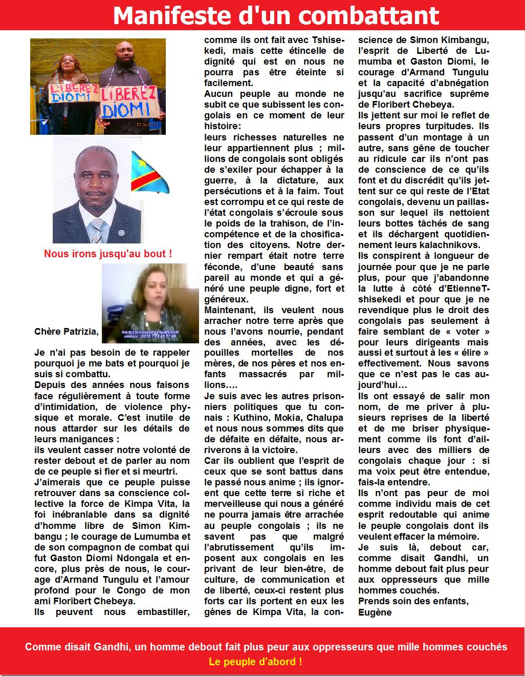 DIOMI NDONGALA:MANIFESTE D'UN COMBATTANT