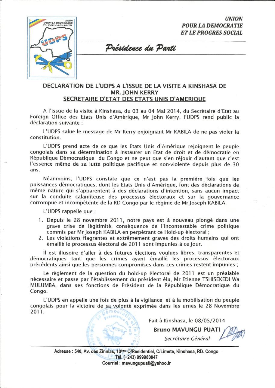 DECLARATION POLITIQUE DE L'UDPS