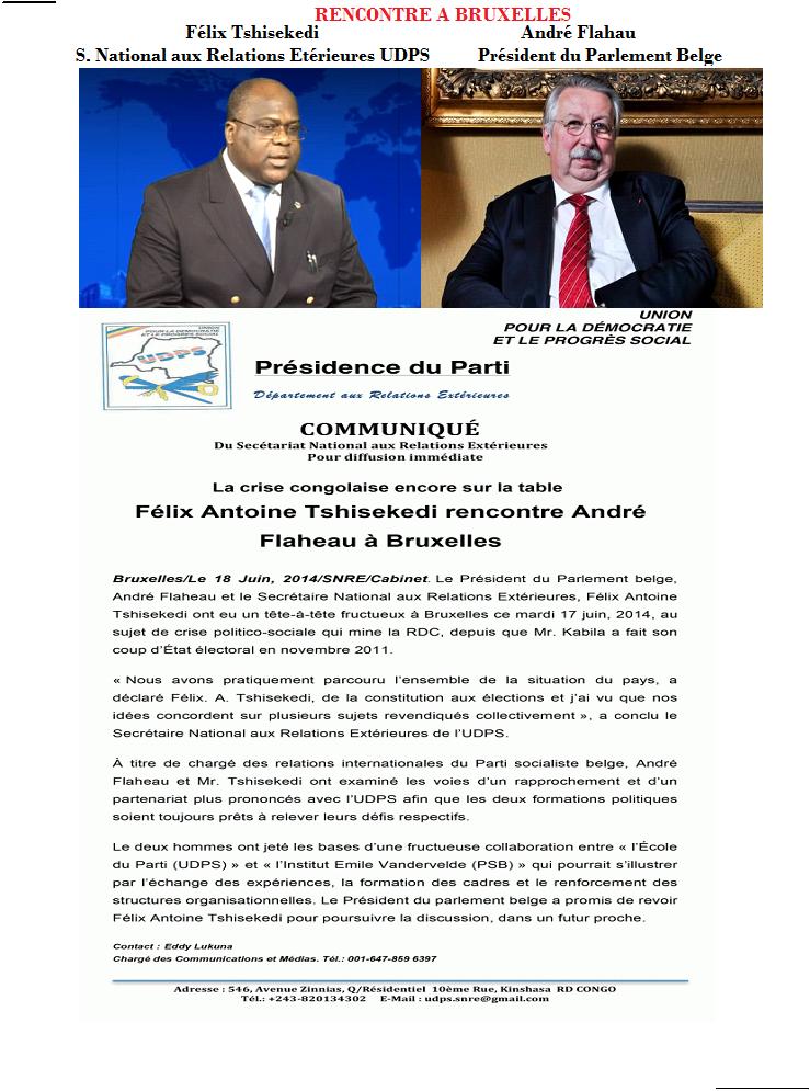 Félix Tshisekedi au PARLEMENT BELGE: Rencontre avec le président du parlement