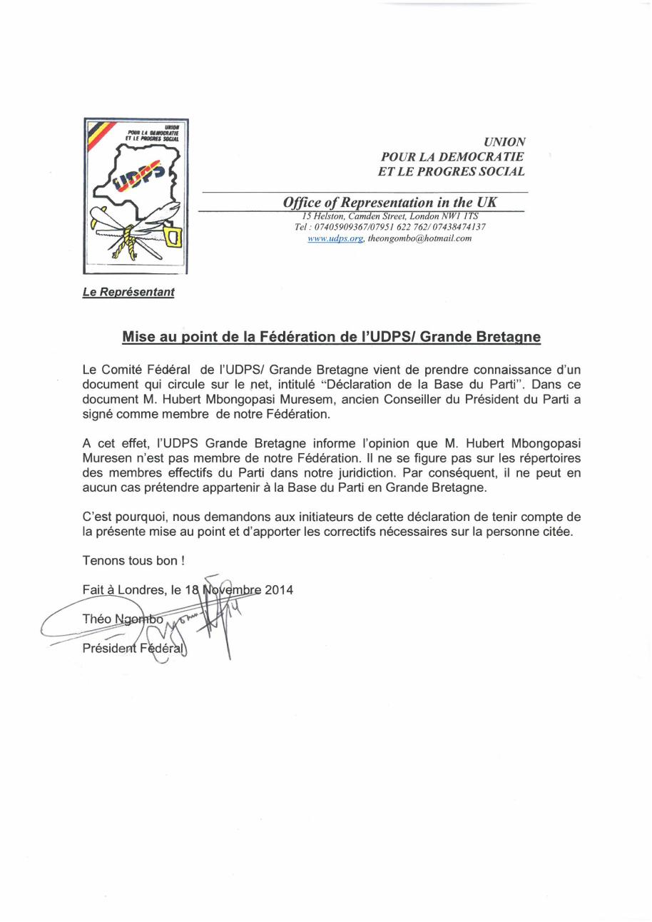 Declaration UDPS Grande B