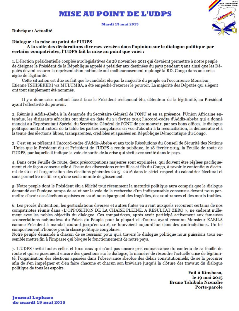 Débat Politique : UDPS / UNC sur le dialogue Mise-au-point-udps